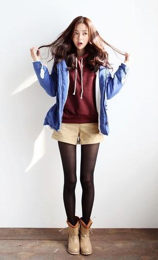 Beige Darted High Waisted Shorts