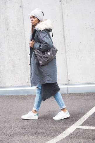 Rock a grey parka with a grey beanie for comfort dressing from head to toe. For shoes, make white leather low top sneakers your footwear choice. With spring coming, it's time to put on simple and chic combinations, just like this.