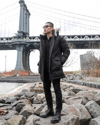 Parka Outfits For Men: A parka and black chinos matched together are a sartorial dream for gentlemen who appreciate casually cool ensembles. To bring out a refined side of you, add black leather casual boots to your ensemble.