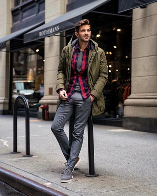 How to wear: olive parka, navy and red plaid flannel long sleeve shirt, white and black horizontal striped crew-neck t-shirt, grey dress pants