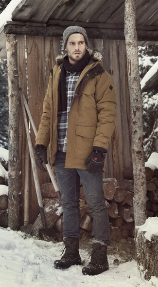 How to Wear Charcoal Jeans For Men: You'll be amazed at how easy it is for any guy to put together this a casual street style ensemble. Just a brown parka and charcoal jeans. Add a pair of black snow boots to this ensemble to infuse an element of stylish casualness into your outfit.