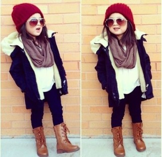 How to Wear a Purple Scarf For Girls: Go for a navy parka and a purple scarf for your daughter for a fun day out at the playground. Brown boots are a good choice to finish this style.