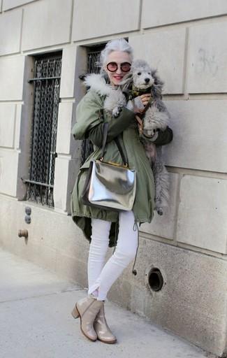 Parka olive jean skinny blanc bottines beiges large 8972