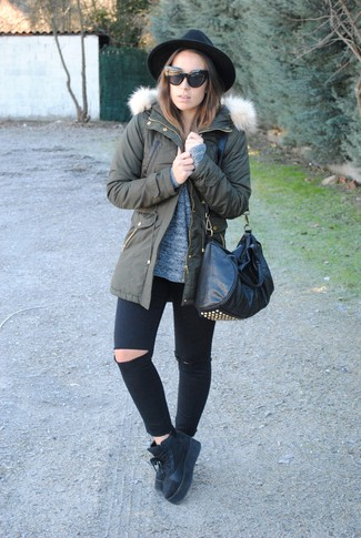 Try pairing a dark grey knit oversized sweater with black ripped skinny jeans for a casual level of dress. Black suede high top sneakers will add some edge to an otherwise classic look.