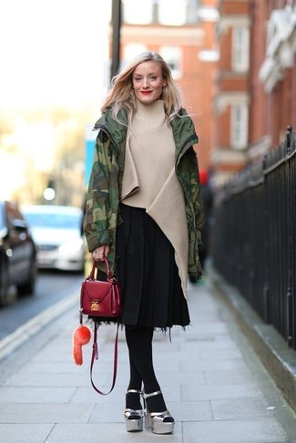 How to wear: dark green camouflage parka, beige poncho, black pleated midi skirt, silver chunky leather heeled sandals
