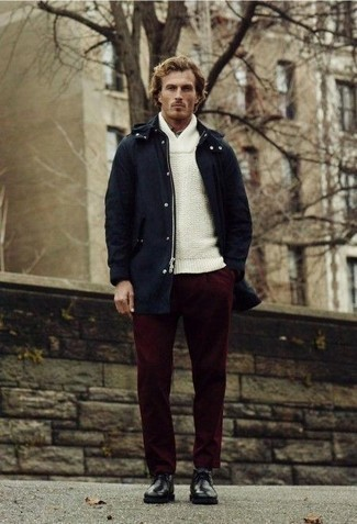 How to Wear a Navy Parka For Men: This getup with a navy parka and burgundy chinos isn't a hard one to score and is easy to adapt throughout the day. For a sleeker vibe, why not complete your look with black leather desert boots?