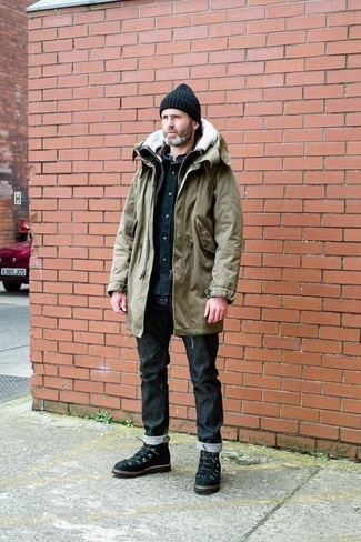 How to Wear an Olive Parka For Men: For an outfit that's super simple but can be flaunted in a great deal of different ways, team an olive parka with black jeans. If you want to effortlesslly dial down this look with a pair of shoes, why not add black suede work boots?