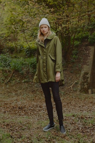 If you want to look cool and remain cosy, make an olive parka and an adidas Originals Trefoil Cuff Beanie your outfit choice. A pair of black leather slip-on sneakers looks very fitting here. Undoubtedly, a look like this will keep you warm and stylish, rain or shine.