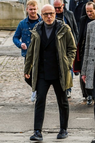 Black Suit with Low Top Sneakers Outfits: Consider pairing a black suit with an olive parka for a proper classy outfit. Our favorite of an endless number of ways to complement this getup is a pair of low top sneakers.