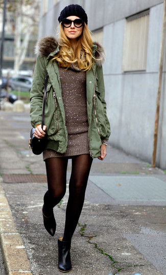Women's Olive Parka, Brown Sweater Dress, Black Leather Ankle Boots, Black Leather Crossbody Bag