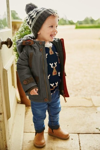 Dress your little guy in a charcoal parka and blue jeans for a fun day in the park. For footwear go for a pair of tan leather boots.