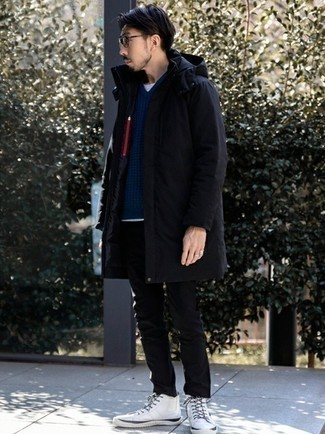White Canvas High Top Sneakers Cold Weather Outfits For Men: Extra stylish, this casual pairing of a black parka and black chinos provides with variety. A pair of white canvas high top sneakers will add a new flavor to your look.