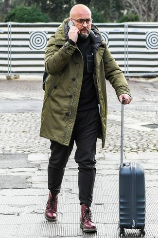 How to Wear an Olive Parka For Men: This combination of an olive parka and black chinos is solid proof that a simple casual outfit doesn't have to be boring. A pair of burgundy leather casual boots easily boosts the classy factor of this outfit.