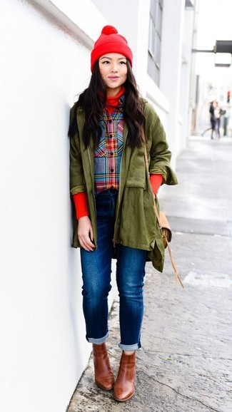 How to wear: olive parka, red turtleneck, multi colored plaid dress shirt, blue jeans