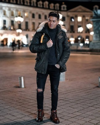 Black Ripped Jeans Outfits For Men: A black parka and black ripped jeans are a good combination to be utilised on dress-down days. Complete this ensemble with a pair of brown leather casual boots to instantly bump up the style factor of any getup.