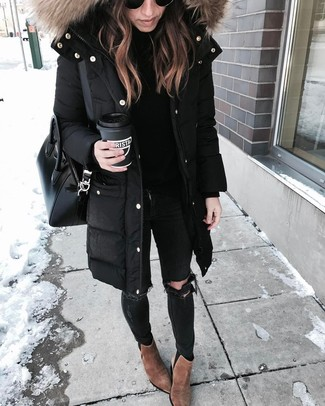 Black Ripped Skinny Jeans Outfits: This combination of a black parka and black ripped skinny jeans resonates laid-back cool and stylish practicality. If you wish to instantly up the style ante of this outfit with footwear, why not add brown suede ankle boots to the mix?
