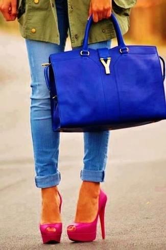 Bolsa tote de cuero azul de Giorgio Armani