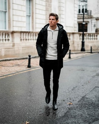 Parka Outfits For Men: Choose a parka and black skinny jeans for comfort dressing with a city style spin. A trendy pair of black leather chelsea boots is a simple way to bring a sense of sophistication to your ensemble.