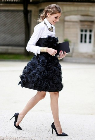 How to wear: black embroidered party dress, white dress shirt, black satin pumps, gold bracelet