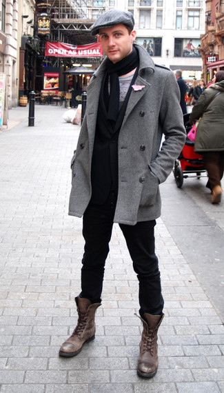 How to Wear a Grey Pea Coat (30 looks) | Men's Fashion