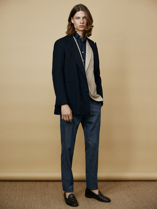 How to wear: navy pea coat, beige wool blazer, navy dress shirt, navy wool dress pants