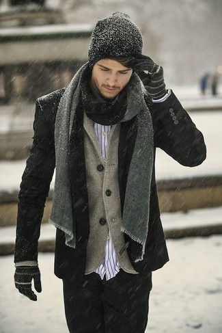 For an ensemble that's nothing less than incredibly stylish, wear a black pea coat and black jeans. We know it's hard to stay on-trend in extreme weather, but this outfit is hard proof that it can be done.