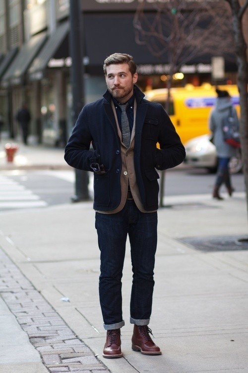 How To Wear a Navy Pea Coat With a Navy Long Sleeve Shirt | Men's ...