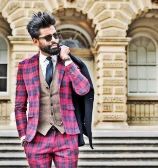 Red Plaid Pants Chill Weather Outfits For Men: Go for a black pea coat and red plaid pants and you'll exude elegance and polish.