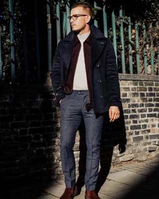 How to wear: navy pea coat, burgundy wool bomber jacket, beige turtleneck, navy wool dress pants