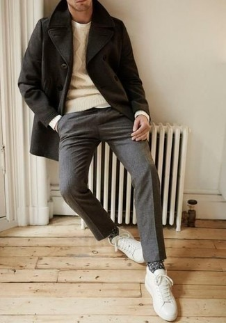 How to Wear a Black Pea Coat: This combo of a black pea coat and grey wool dress pants is ideal when you need to look truly sharp. Add white leather low top sneakers to the equation to keep the outfit fresh.