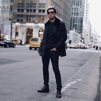 Navy Pea Coat Outfits: A navy pea coat and black jeans are the perfect way to introduce some manly refinement into your day-to-day arsenal. When in doubt as to the footwear, go with a pair of dark brown leather desert boots.
