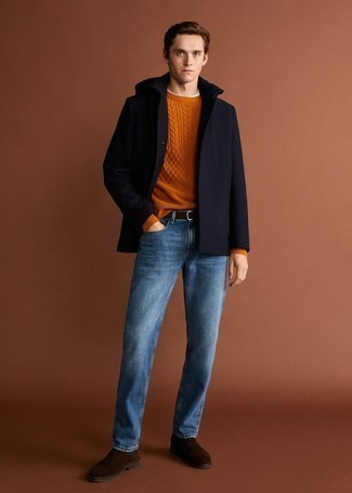 Navy Pea Coat Outfits: A navy pea coat and blue jeans are an easy way to inject some manly refinement into your current repertoire. Infuse this getup with an added dose of style by finishing with dark brown suede chelsea boots.