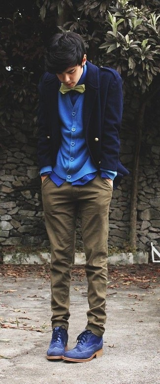 How to wear: navy pea coat, blue cardigan, blue dress shirt, brown chinos