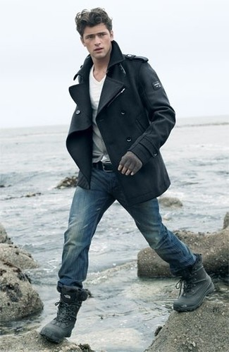 How to wear: black pea coat, grey cardigan, white v-neck t-shirt, blue jeans