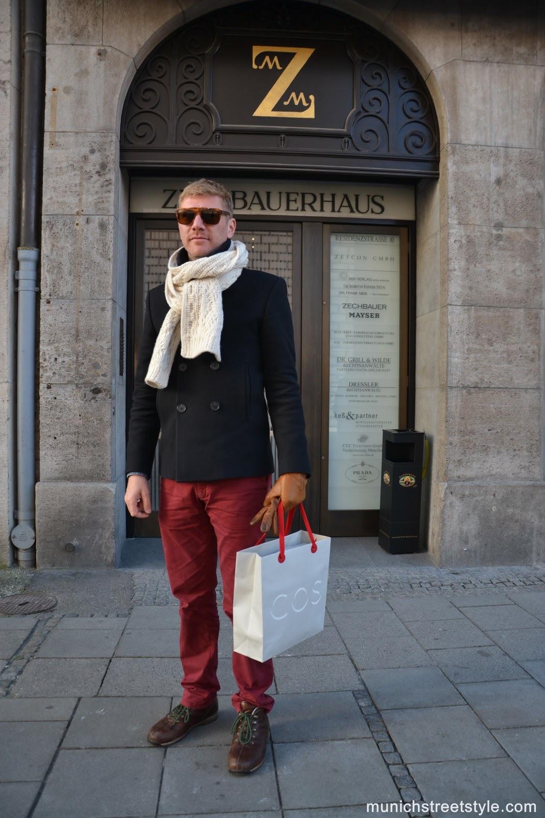 Men's Black Pea Coat, Burgundy Chinos, Brown Leather Boots, Beige ...