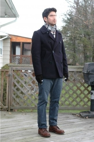 How to wear: navy pea coat, navy chinos, dark brown leather brogue boots, grey plaid scarf
