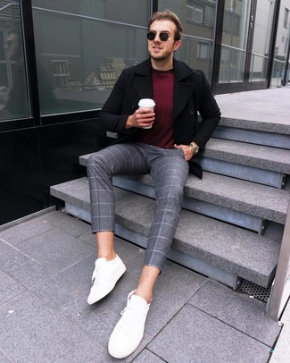 How to wear: black pea coat, burgundy crew-neck sweater, grey check wool chinos, white leather low top sneakers