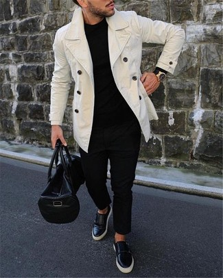 How to wear: white pea coat, black crew-neck sweater, black chinos, black leather slip-on sneakers