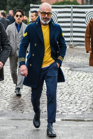 How to wear: navy pea coat, yellow crew-neck sweater, white crew-neck t-shirt, navy dress pants