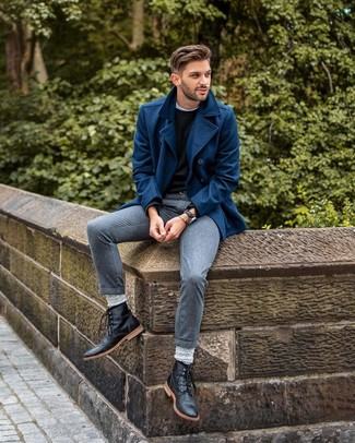 How to wear: navy pea coat, black crew-neck sweater, white crew-neck t-shirt, grey dress pants