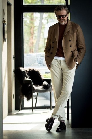 Brown Pea Coat Outfits: A smart casual pairing of a brown pea coat and beige chinos can be relevant in many different settings. Finishing with black leather derby shoes is an effective way to bring some extra classiness to this ensemble.