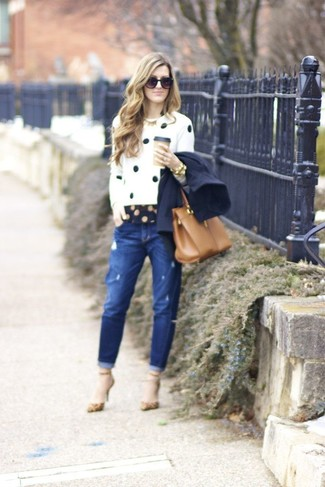 Navy Polka Dot Long Sleeve Shirt