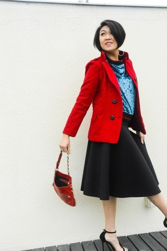 A red peacoat and a black full skirt will give off this very sexy and chic vibe. Black suede heeled sandals will add elegance to an otherwise simple look.