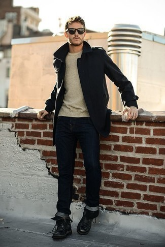 How to Wear a Black Pea Coat: This outfit clearly shows it pays to invest in such menswear items as a black pea coat and navy jeans. Black leather casual boots complete this look quite well.