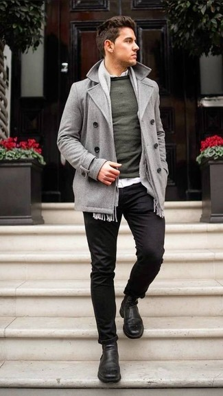 How to wear: grey pea coat, dark green crew-neck sweater, white long sleeve shirt, black chinos
