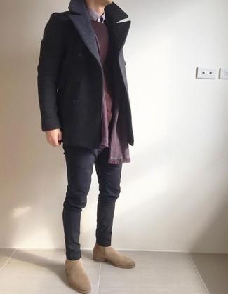 Wool Blend Pea Coat Assorted Colors