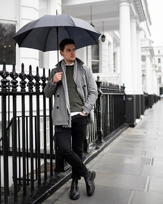 Black Jeans Outfits For Men: A smart pairing of a grey pea coat and black jeans can maintain its relevance in many different occasions. Feeling experimental today? Spice up your ensemble by rocking black leather chelsea boots.