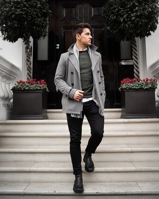 Black Jeans Outfits For Men: This combination of a grey pea coat and black jeans will add manly essence to your look. Go off the beaten path and switch up your outfit with black leather chelsea boots.