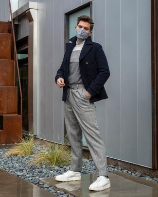 Navy Pea Coat Outfits: This pairing of a navy pea coat and grey vertical striped chinos might pack a punch, but it's extremely easy to assemble. Feeling bold? Break up your outfit by finishing off with white leather low top sneakers.