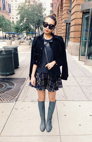 How to wear: black pea coat, charcoal embellished crew-neck sweater, navy plaid skater skirt, grey leather knee high boots